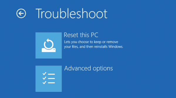 Windows 10 - Advanced Options - Troubleshoot - Reset this pc