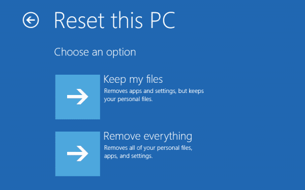 Windows 10 - Advanced Options - Troubleshoot - Reset this pc - options