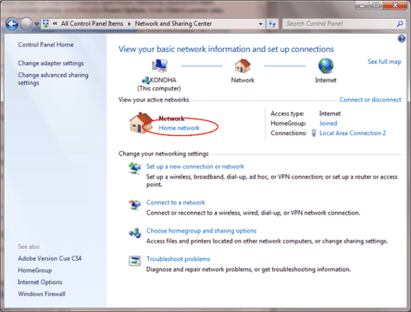 Changing Network Location - Windows 7