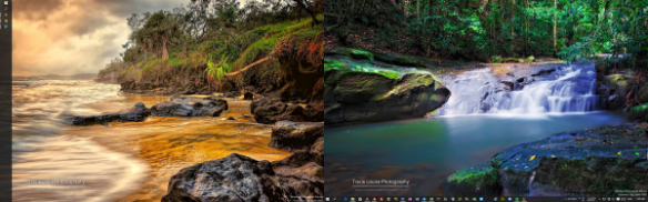 Desktop - two screens with different taskbar location