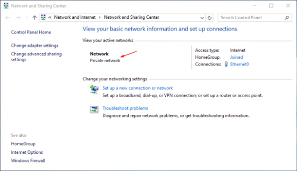 Network and Sharing Center - network profile