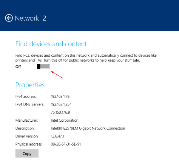 PC Settings - network - Network