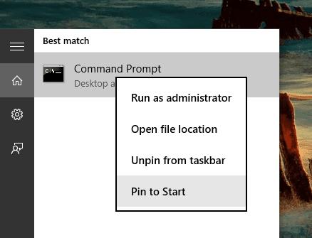 Pin CMD to Start