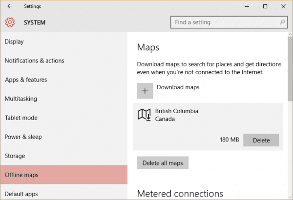 Settings - offline maps - download maps - canada - downloaded