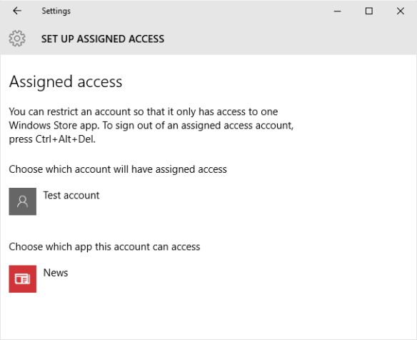 Settings - set up assigned access
