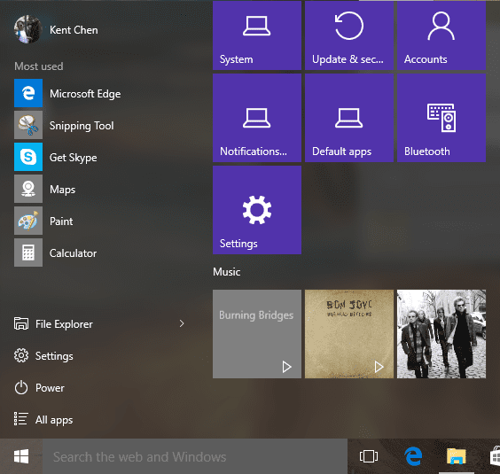 Start Menu - with pinned music