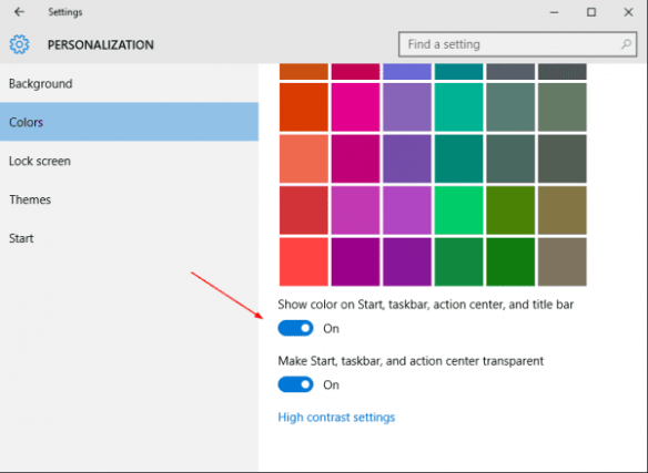 Settings - Personalization - Color - show color on title bar