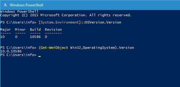 PowerShell to show Windows Build number