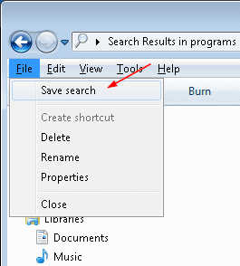 Save Searches in Windows 7