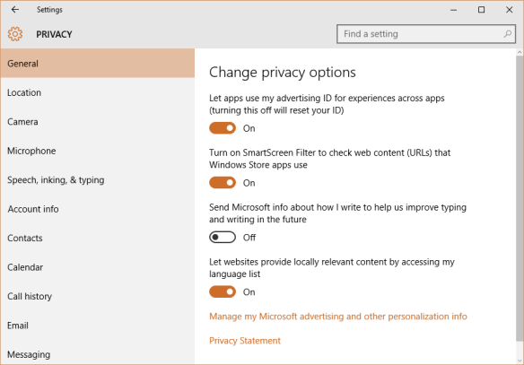 Windows 10 - Settings - Privacy - Send Microsoft info about