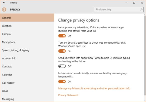 Windows 10 - Settings - Privacy - Send Microsoft info about