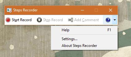 Windows 10 - Steps Recorder - Settings