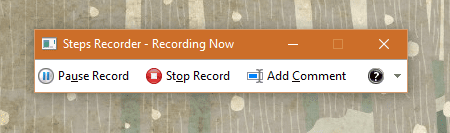 Windows 10 - Steps Recorder - start recording