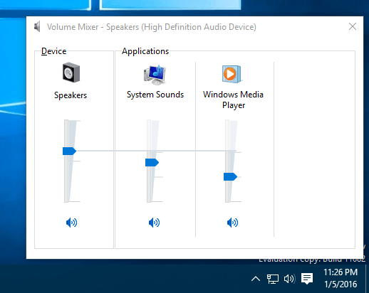 Windows 10 - volume mixer