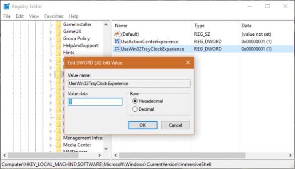 Registry for UseWin32TrayClockExperience