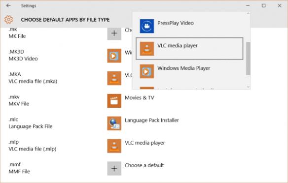 Settings - Default App - by file type - mkv