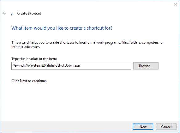 Shortcut to SlideToShutdown