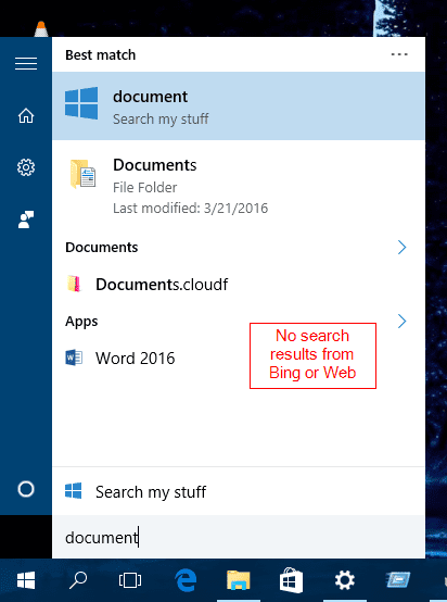 Windows 10 - Search without web