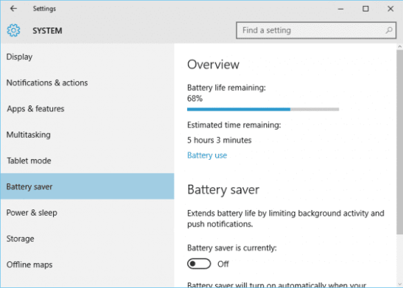 Windows 10 - Settings - System - Battery saver -unplugged