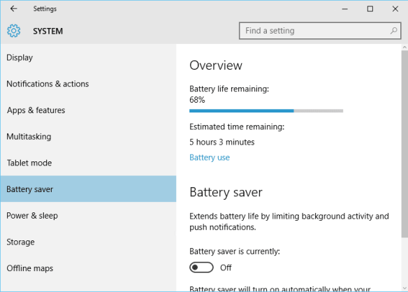 Windows 10 - Settings - System - Battery saver -unplugged
