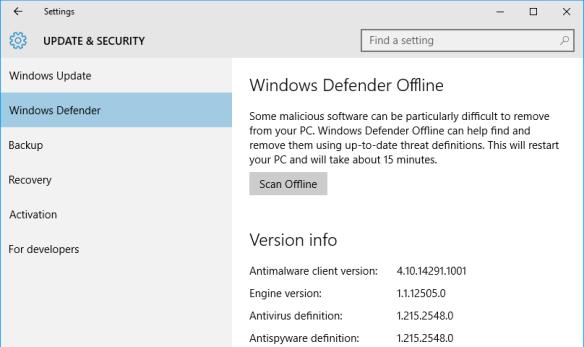 Windows 10 - Settings - Update - Defender
