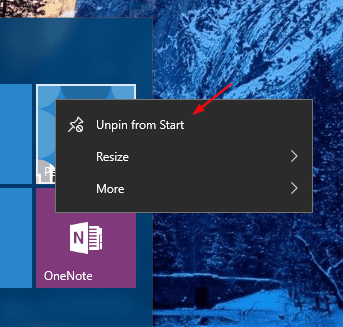 Windows 10 - Unpin from Start