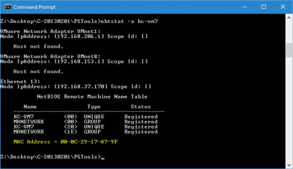 Command Prompt - nbtstat