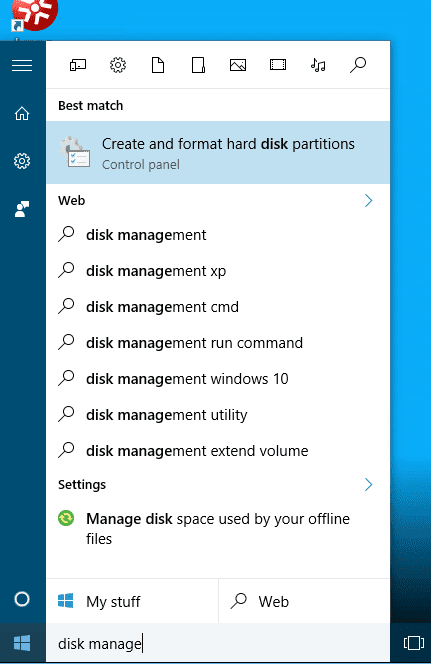 Search for Disk Managment
