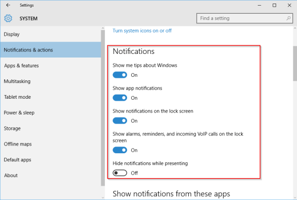 Settings - system - notifications