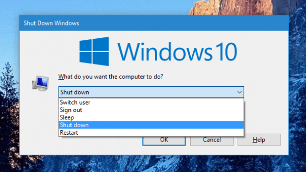 Windows 10 - the Shutdown Windows