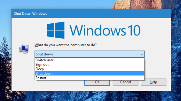 Windows 10 - the Shutdown Windows