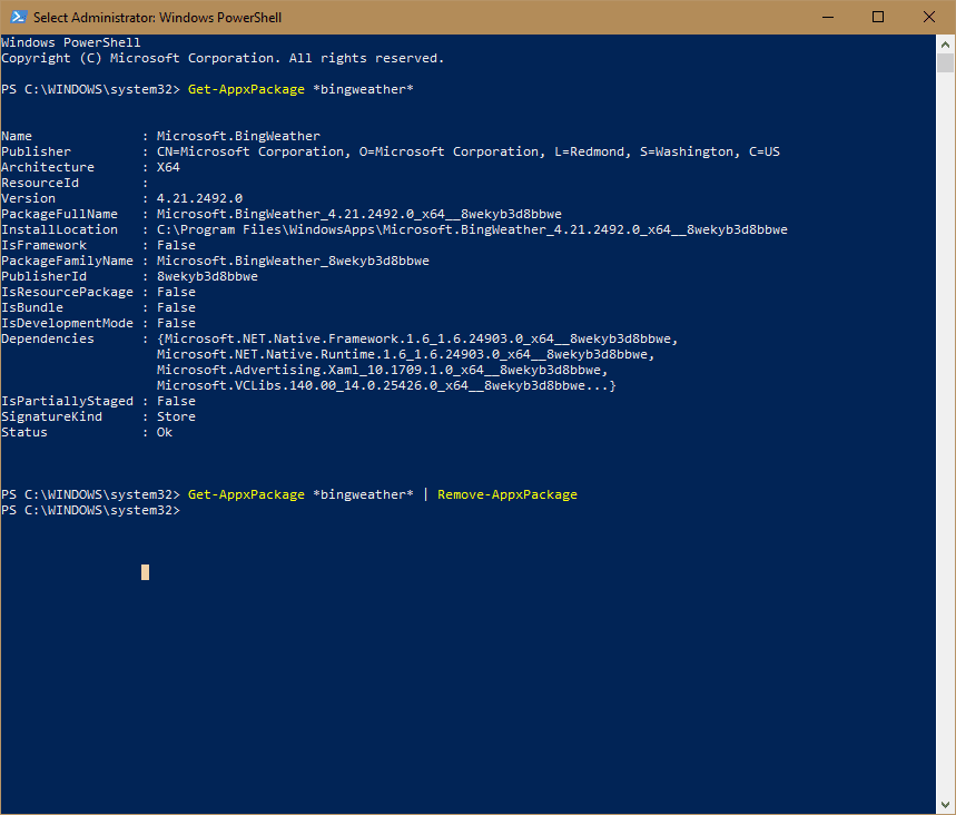 PowerShell - remove windows 10 app