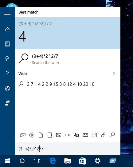 Windows 10 - cortana - calculator