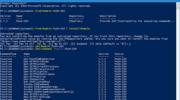 PowerShell - install Posh SSh