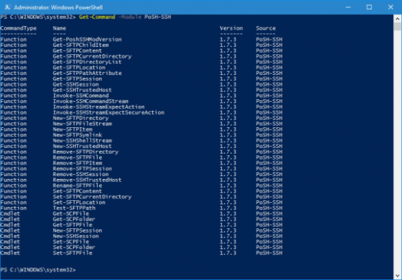 PowerShell - list of SSH cmdlets