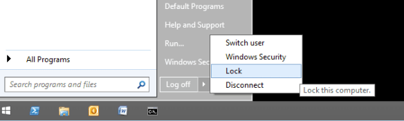 Start - shutdown option windows 2012