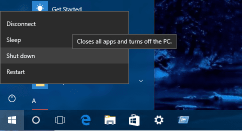 Windows 10 - shutdown options on Remote Desktop Session