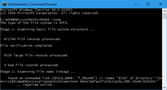 Administrator_ Command Prompt - chkdsk _scan