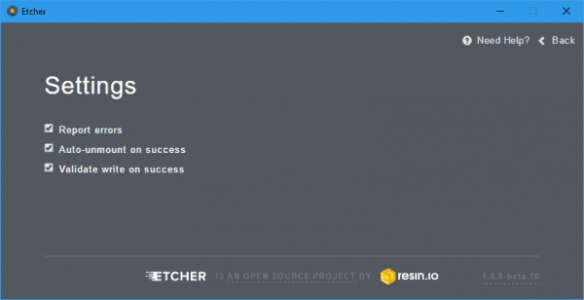 Etcher - settings