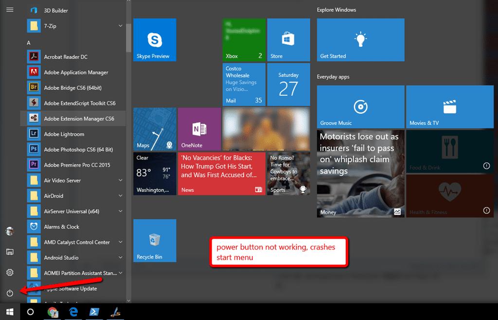 windows start menu button not working
