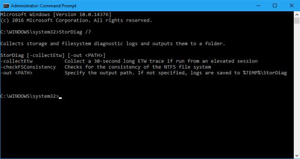 Command Line - StorDiag help