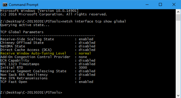 Command Prompt - netsh interface tcp show global