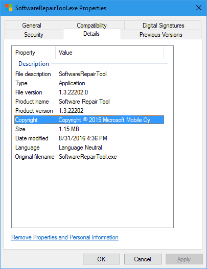SoftwareRepairTool.exe Properties