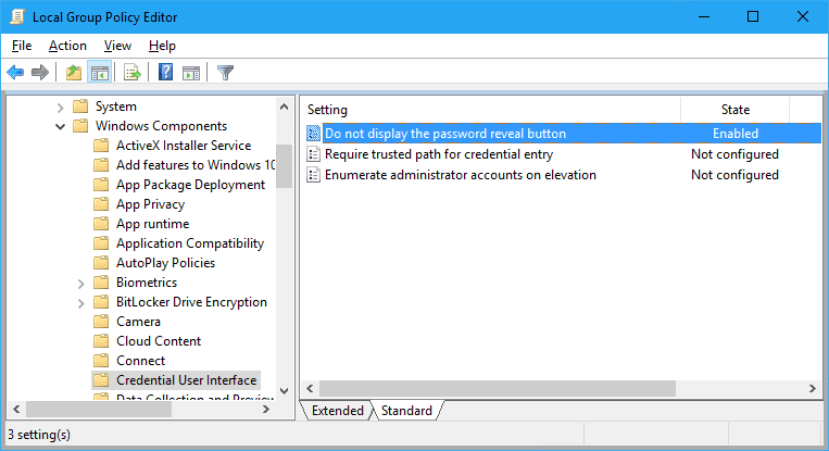 disable password policy in windows 10