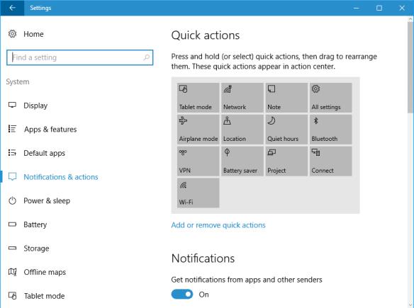 Windows 10 - Settings - system - notification