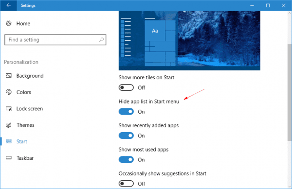 Settings Personalization Start Hide app list 600x389 - Windows 10 Tip: What is Hide App List in Start Menu option in Settings