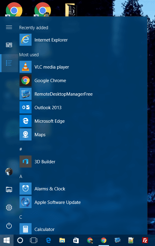 Start Menu - App List view