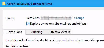 "Registry change permission of a key advanced - How to Bring ""Open Command Window here"" Option Back in Windows 10"