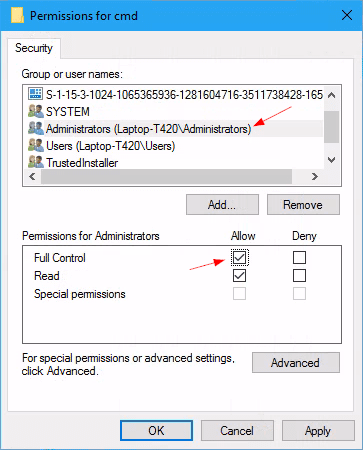 "Registry change permission of a key full control - How to Bring ""Open Command Window here"" Option Back in Windows 10"