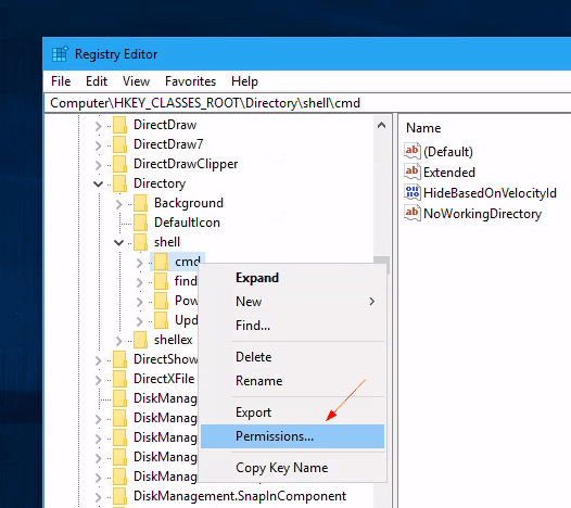 "Registry change permission of a key - How to Bring ""Open Command Window here"" Option Back in Windows 10"